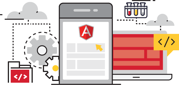 angular Development flat line graphic