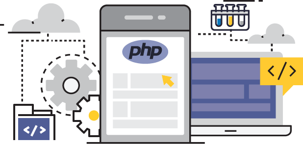 php Development flat line graphic