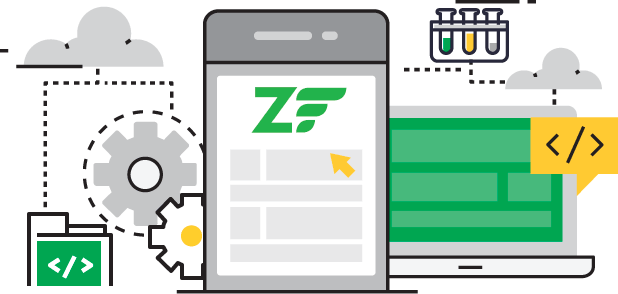 zend Development flat line graphic